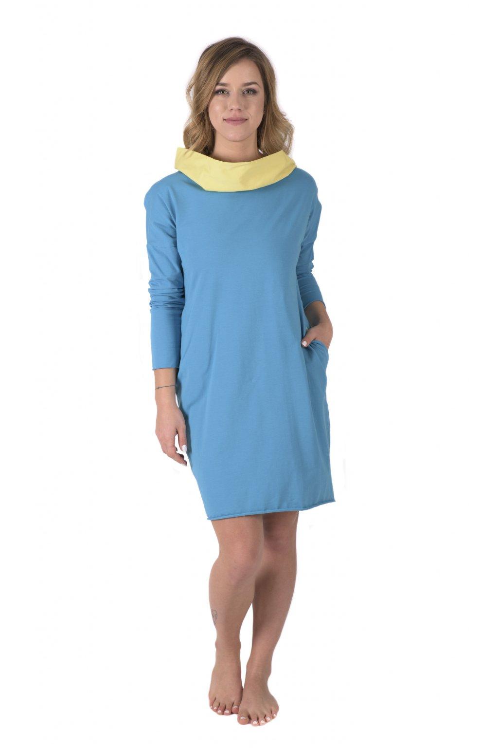 Šaty s kapucí a kapsami Arduinna / Tyrkysová + Žlutá