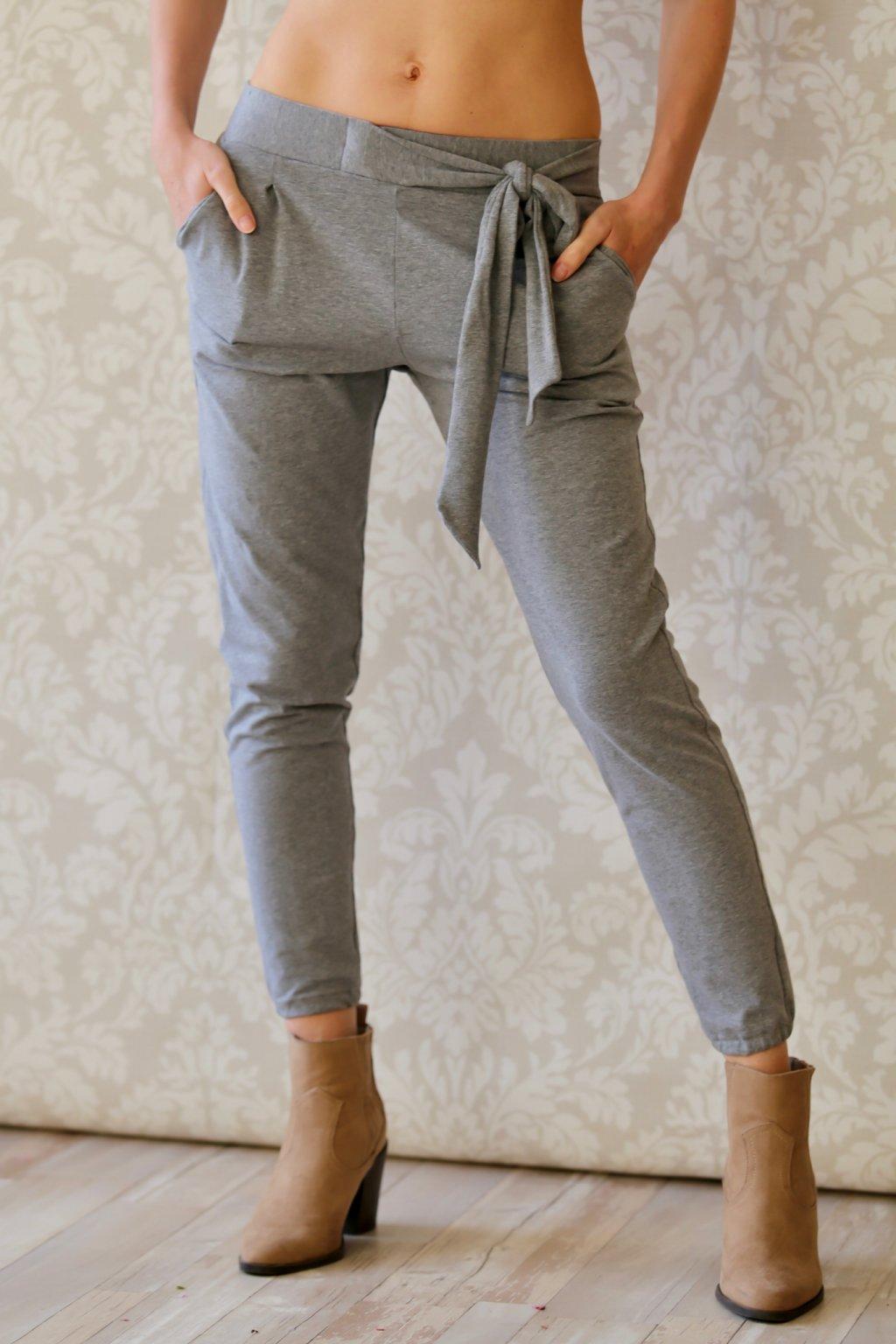 Kalhoty s mašlí Kassandra / Šedý melír