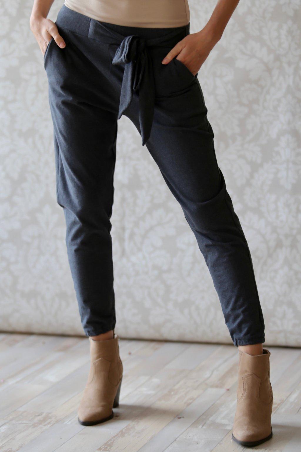 Kalhoty s mašlí Kassandra / Černý melír
