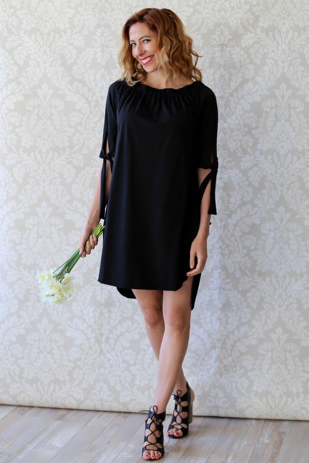 Šaty s mašlemi Melissa / Černá