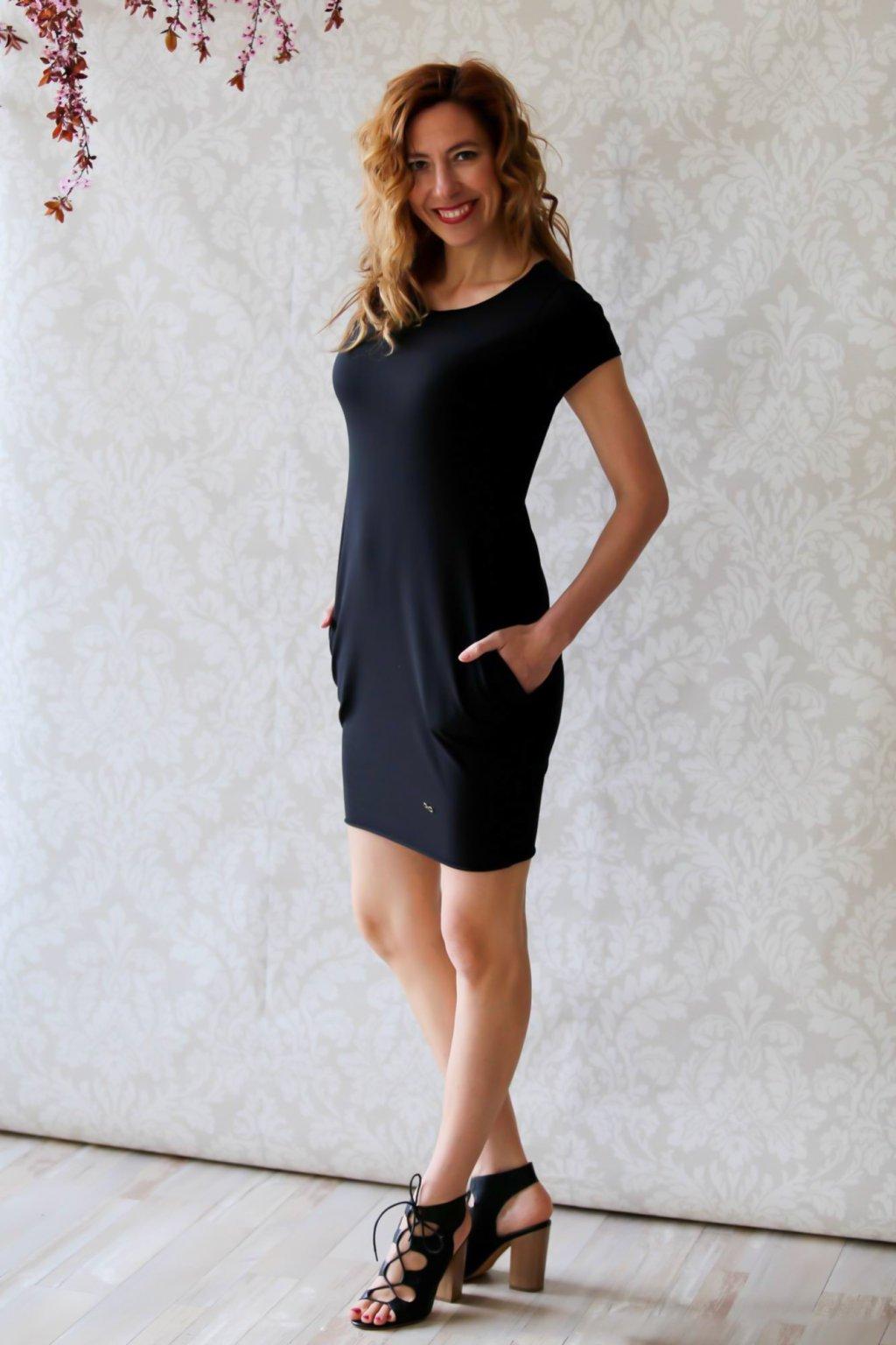 Božské šaty Afrodité s krátkým rukávem / Černá
