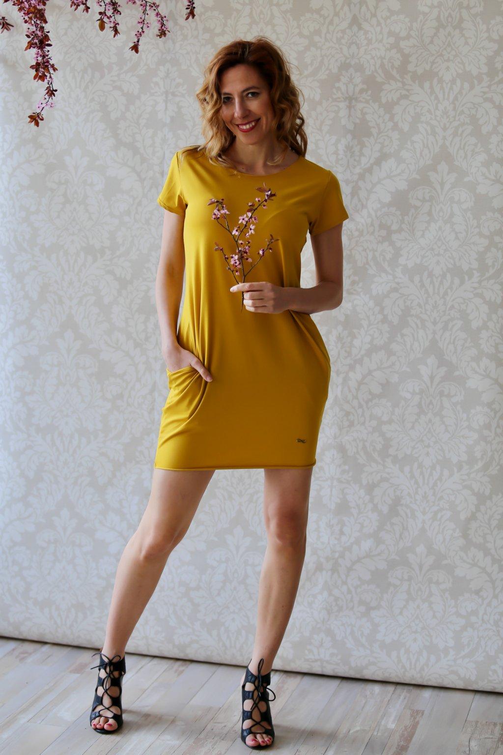 Božské šaty Afrodité s krátkým rukávem / Hořčicová
