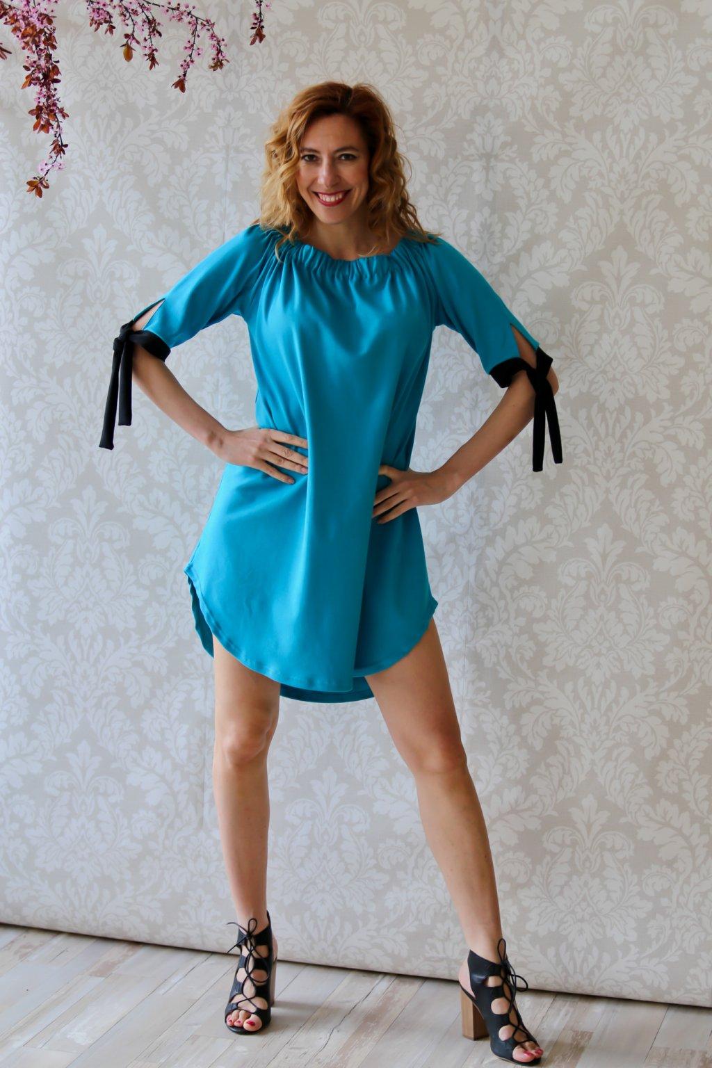 Šaty s mašlemi Melissa / Modrozelená