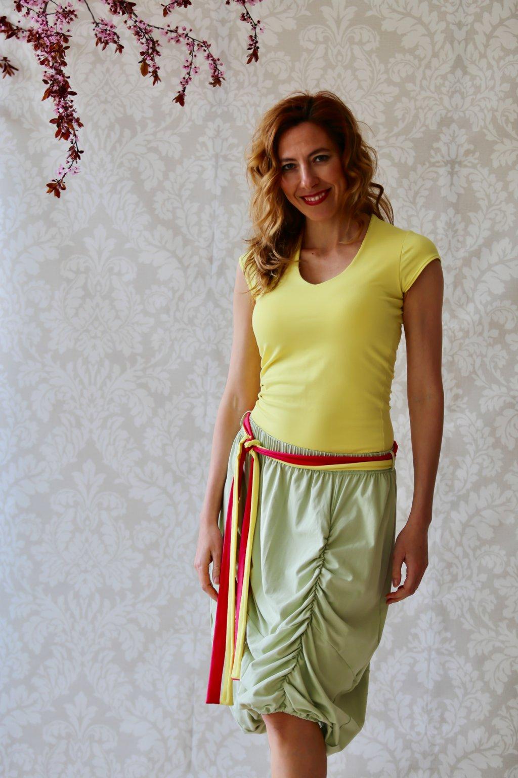 Dlouhá balónová sukně Astraia / Zelenkavá