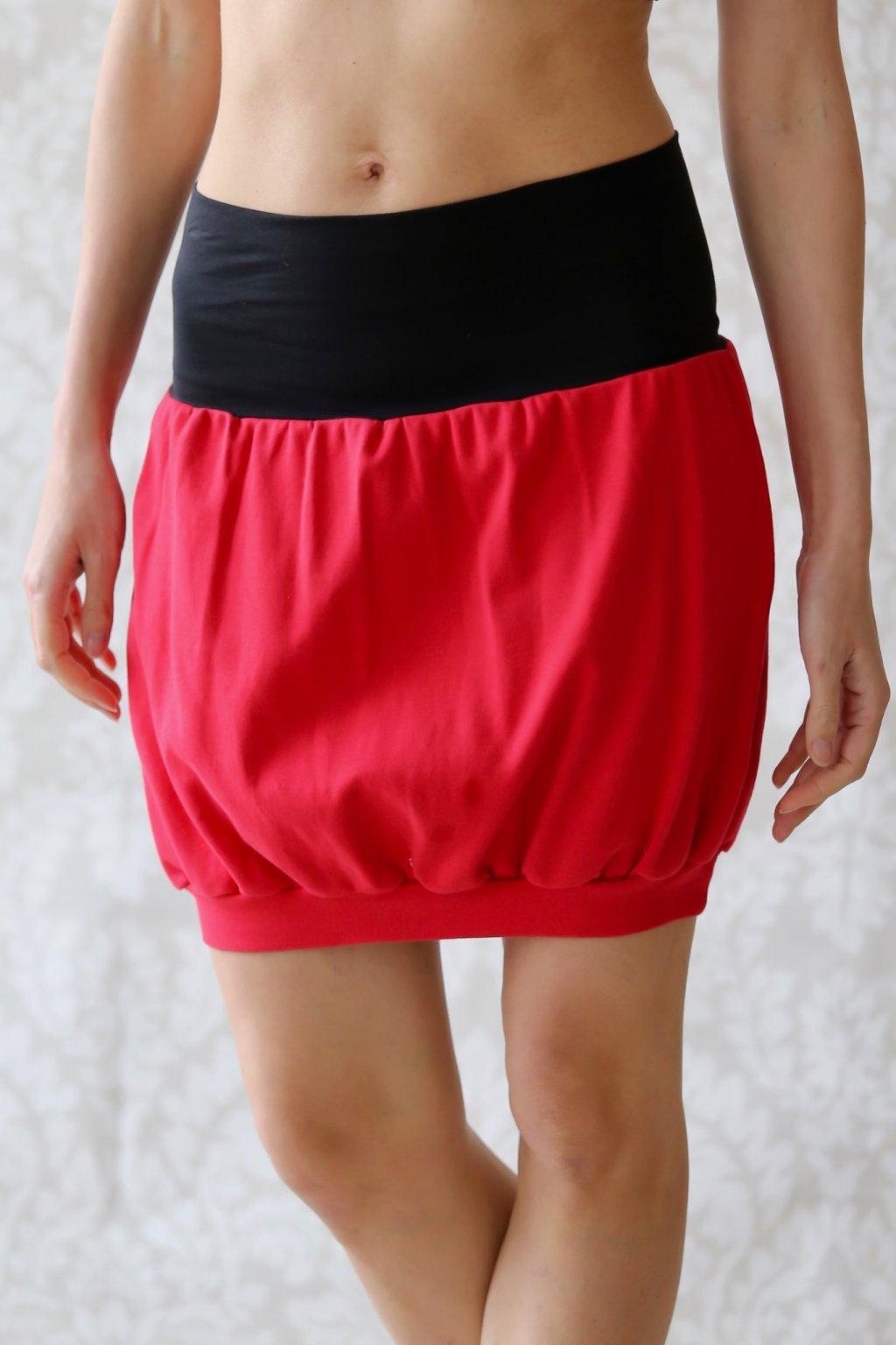 Výprodej - Soudková sukně Boann / Červená s černou