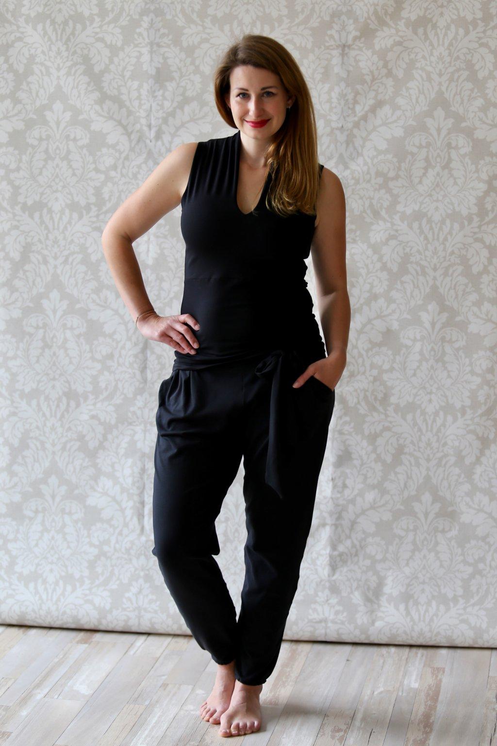 Kalhoty s mašlí Kassandra / Černá