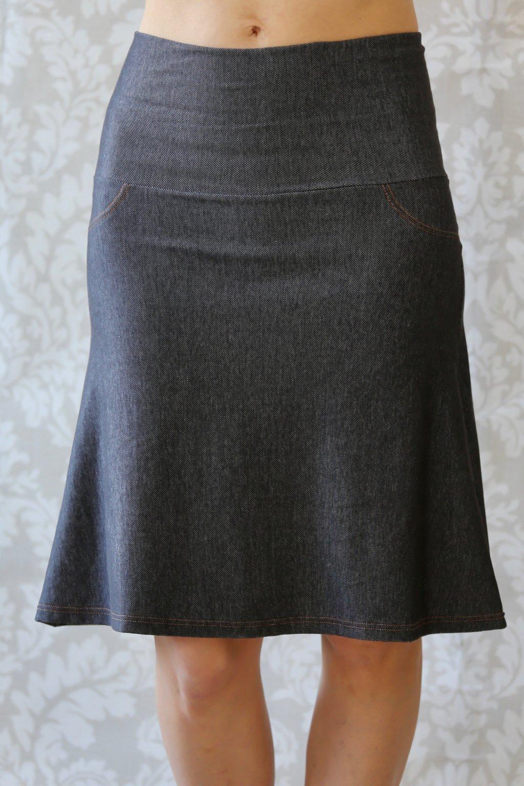Džínová sukně Aine s kapsama / Antracit