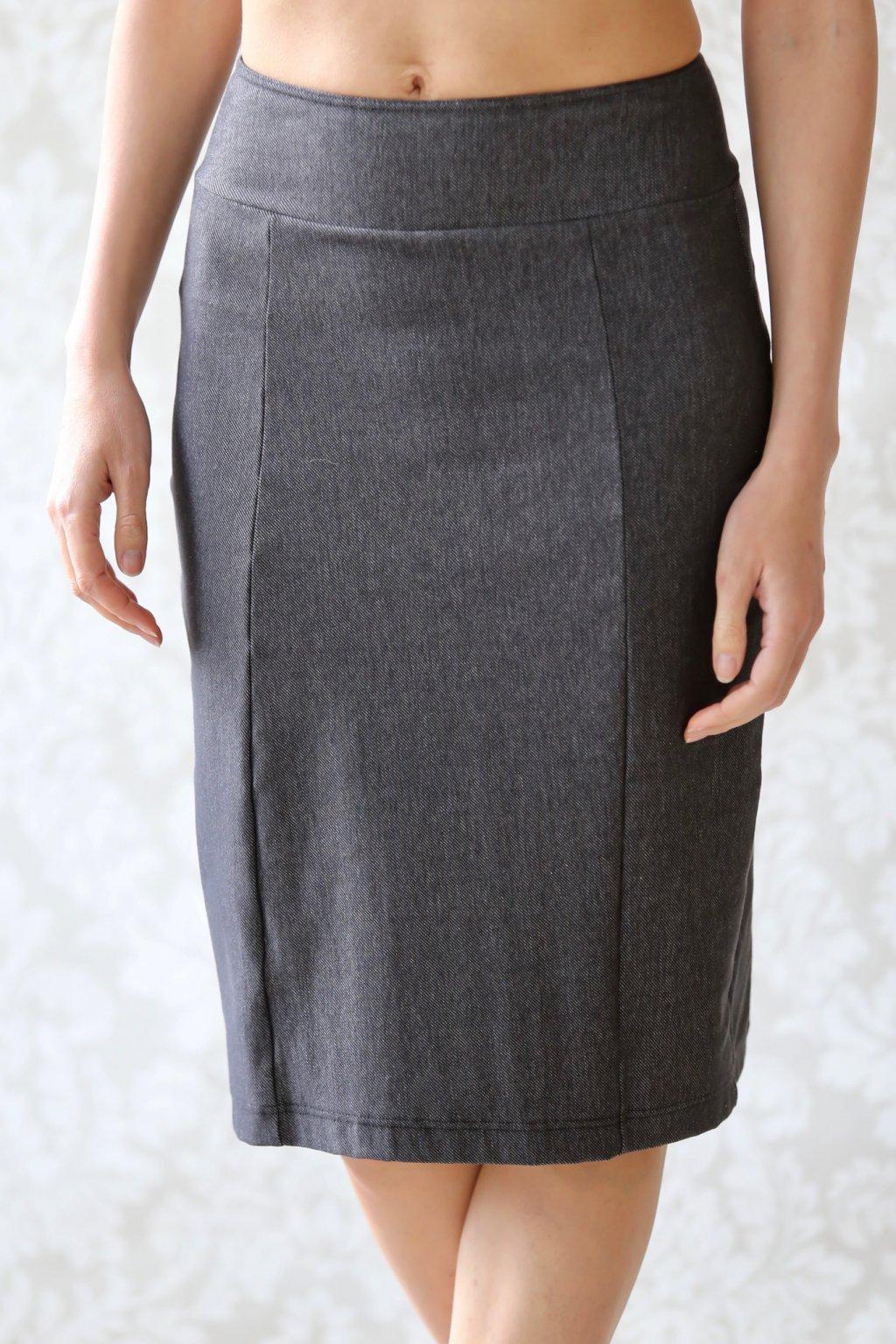 Džínová sukně do pasu Beáta / Antracit denim