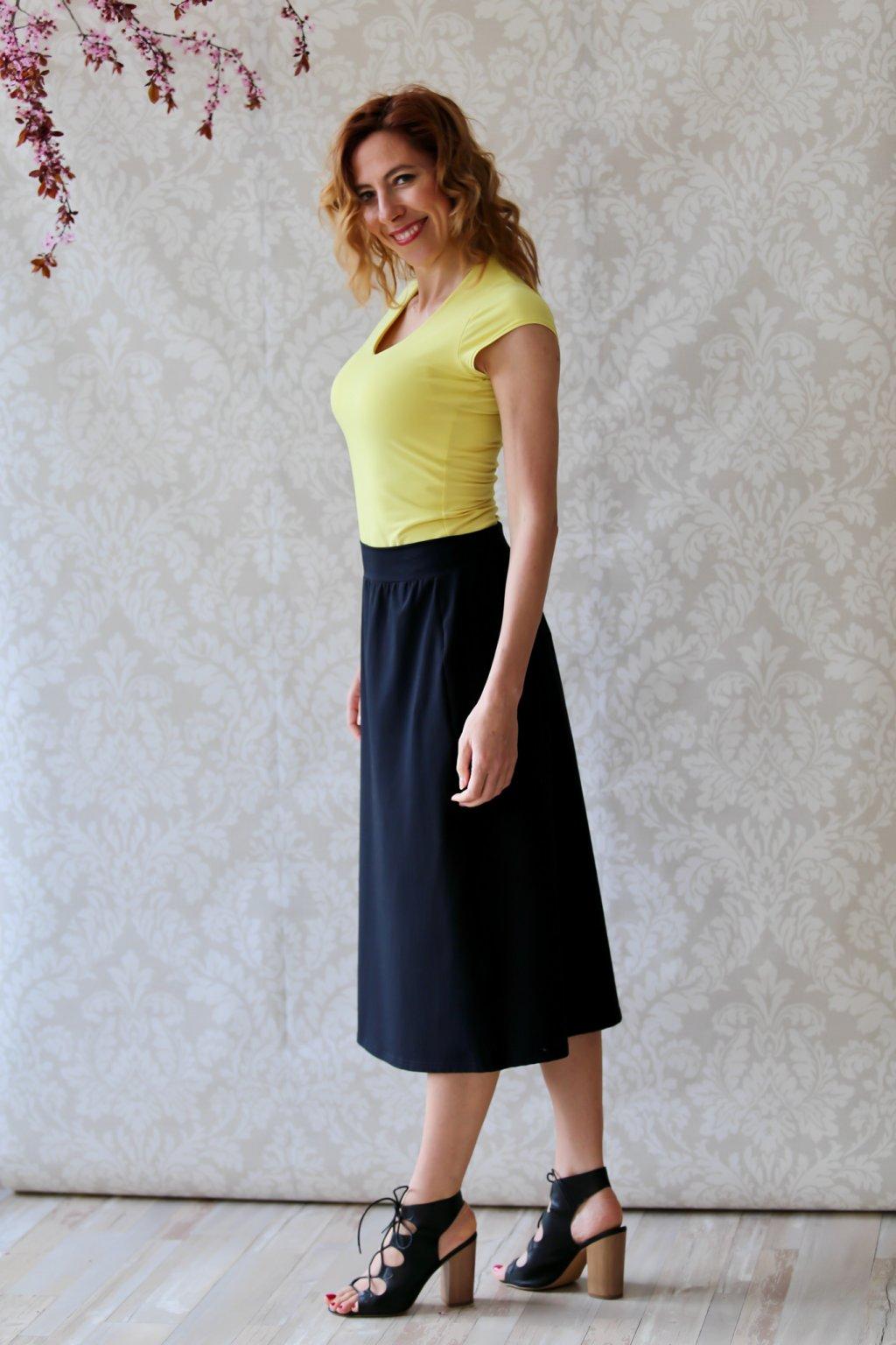Klasická sukně do pasu Hestia / Černá