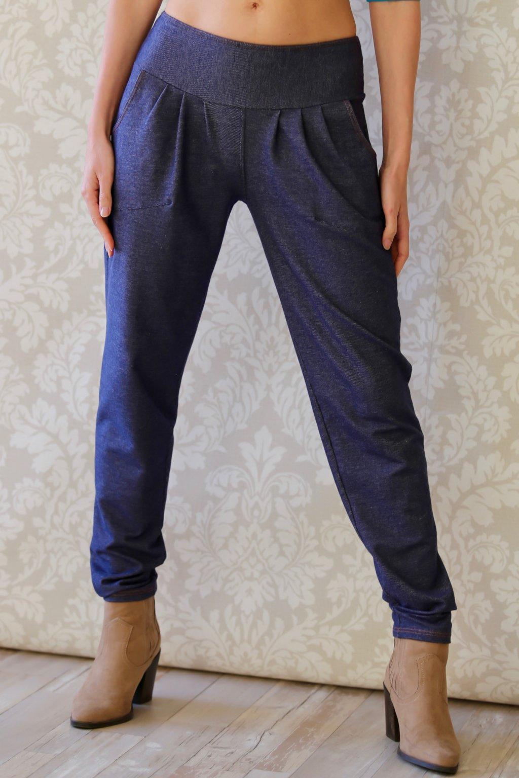 Džínové kalhoty s žabkami Ambrosia / Tmavě modrý denim