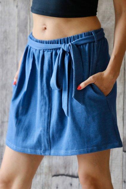 Krátká sukně s páskem na zavazování Kleopatra / Modrý Denim