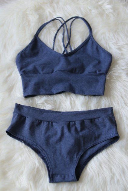Set podprsenka Sachmet a kalhotky Elaine / Modrý melír