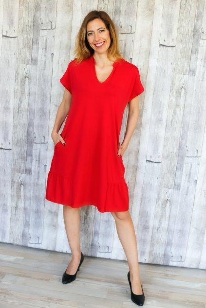 Kimono šaty s volánem a kapsami / Červená