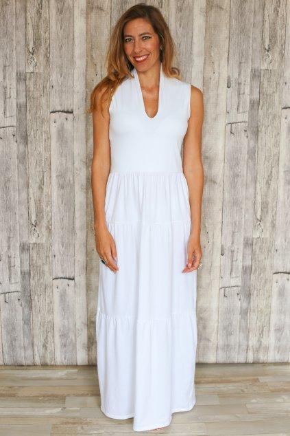 Dlouhé šaty s japonským vrškem a volánovou sukní / Bílá