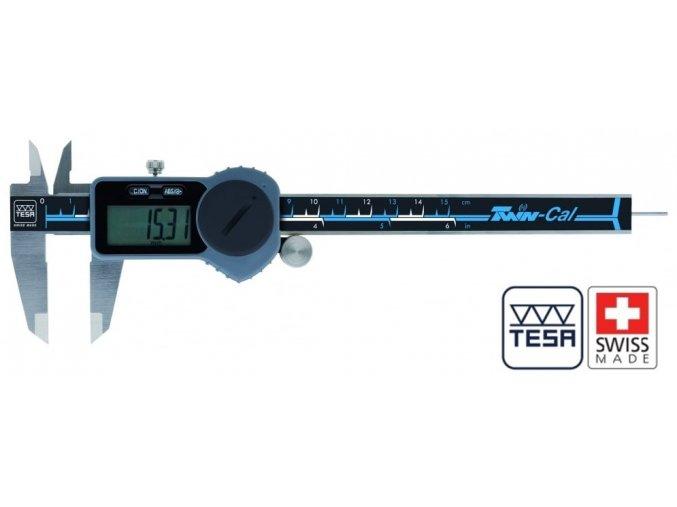 00530095 TESA Posuvné měřítko digitální 0-200 mm, TWIN-CAL, plochý hloubkoměr, TESA