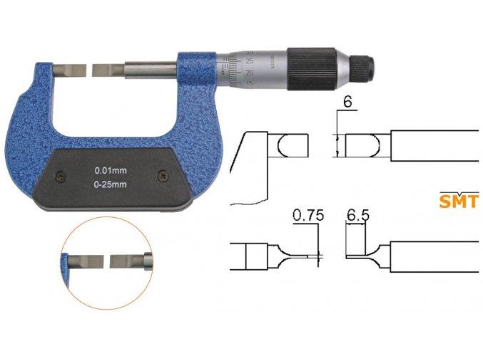 Mikrometr s tenkými úzkými doteky