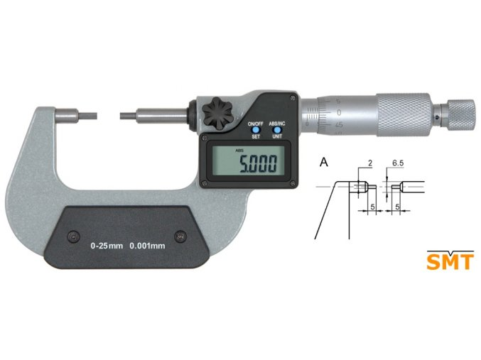 Mikrometr s uzkými doteky