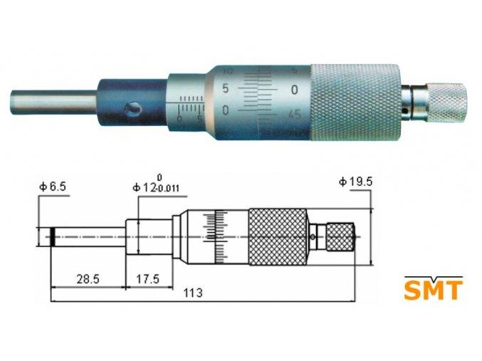 Vestavná mikrometrická hlavice 0,001 mm
