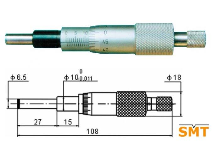 Vestavná mikrometrická hlavice 0-25 mm
