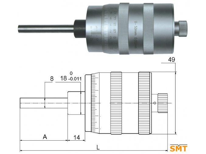 Vestavná mikrometrická hlavice velká 0-50 mm