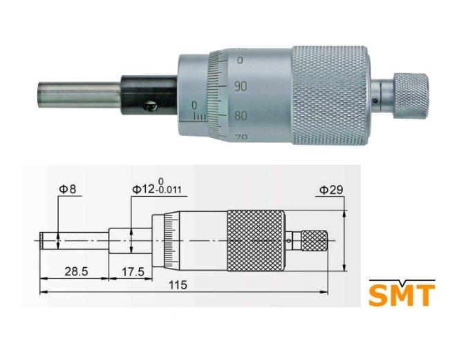 Vestavná mikrometrická hlavice velká 0-25 mm
