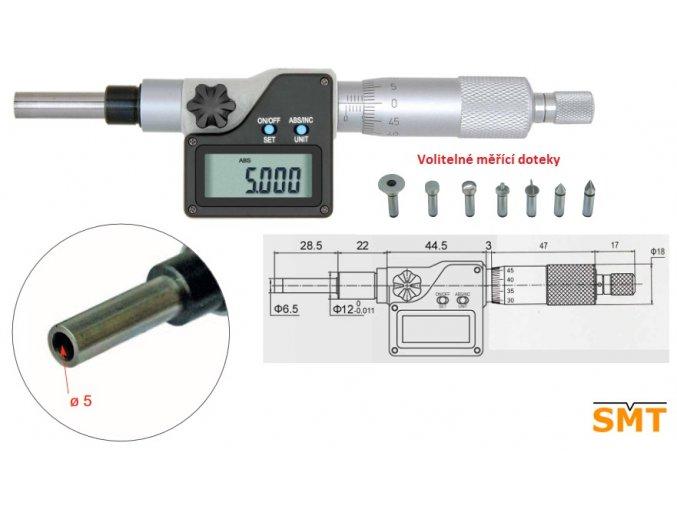 Digitální mikrometrická hlavice 0 25 mm pro výměnné doteky