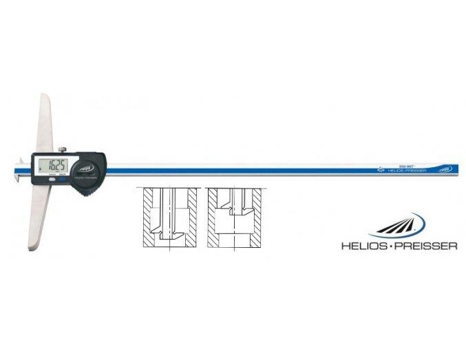 1366718 Digitální posuvný hloubkoměr 0-200 mm, IP67, dvouhákový, Helios - Preisser