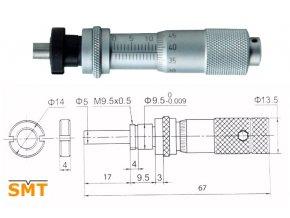 Vestavná mikrometrická hlavice 0-13 mm
