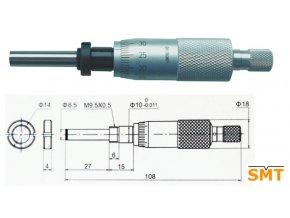 Vestavná mikrometrická hlavice 0-25 mm s upínací maticí