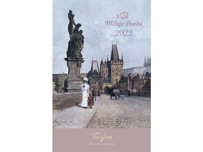 Titulní strana historického kalendáře Miluju Prahu 2022 Václav Jansa 1900