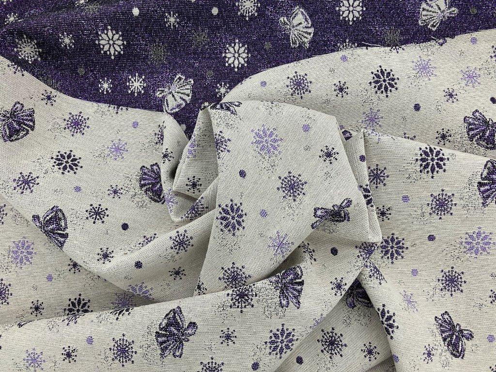 Vánoční metráž Zvonky fialová