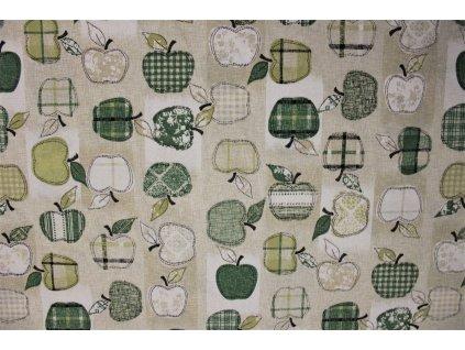 Látka Jablka 1515-Zelená