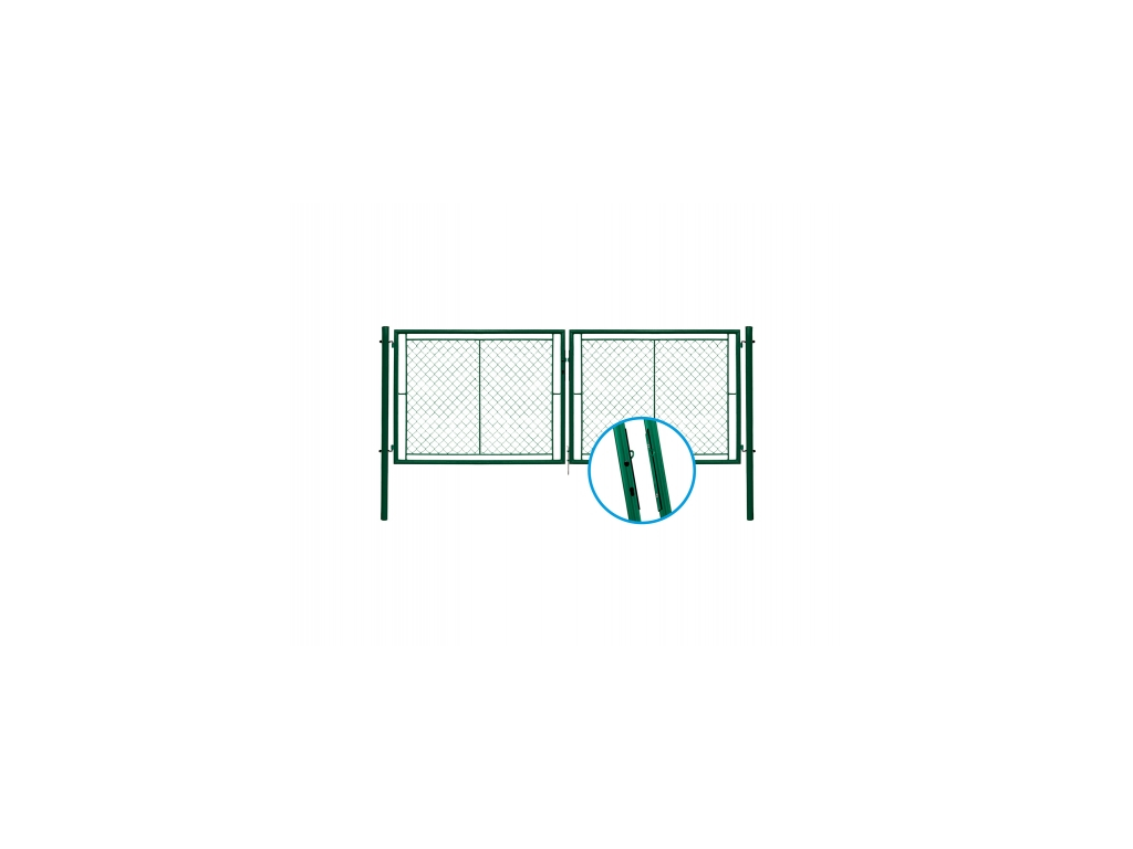 3038 dvoukridla brana pletivo zelena rozmery 4037x1450 mm zn pvc