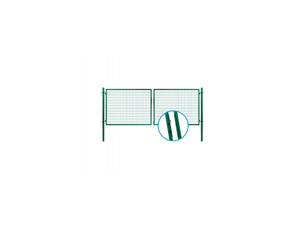 3329 dvoukridla brana svarovana sit zelena rozmery 3580x1450 mm zn pvc