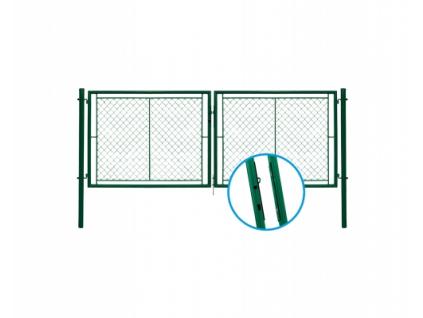 3017 dvoukridla brana pletivo zelena rozmery 3605x1200 mm zn pvc