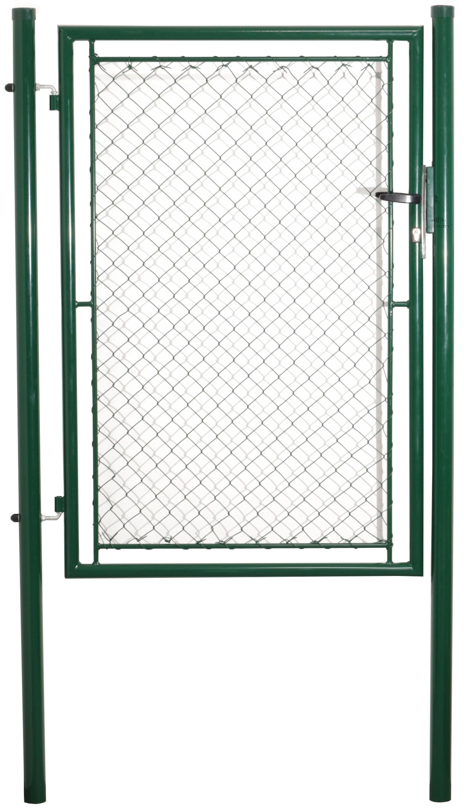 Jednokřídlá branka, pletivo, zelená, rozměry 1085x1450 mm, Zn+PVC