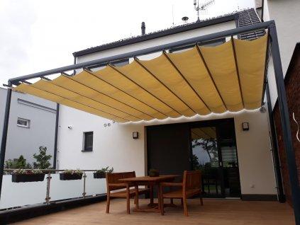 Hliníková pergola ZEN HOME s posuvnou látkovou střechou