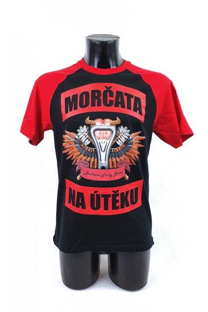 Tričko Votvírák černočervené s logem