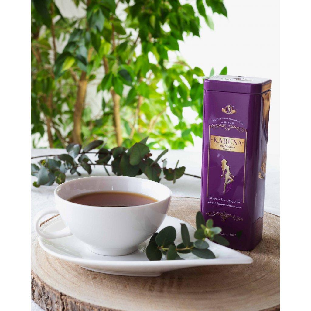 Kuanfu Tea Karuna Ripe Black Tea - hermeticky stlačený sypaný zralý černý čaj v dárkovém balení, 50g