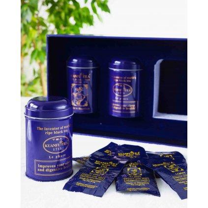 Kuanfu Tea Le Phare Set - hermeticky stlačený zralý černý čaj v dárkovém balení, 3x30g