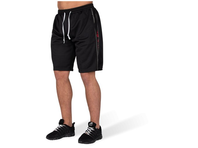 functional mesh shorts black red