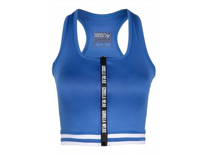 91534400 mesa zip front crop top blue 01
