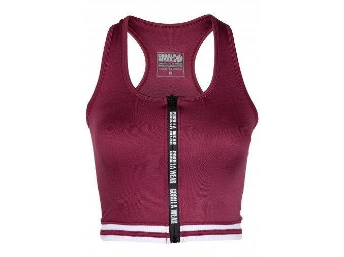 91534500 mesa zip front crop top burgundy red 01