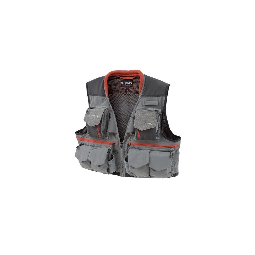 Rybářská vesta Simms Guide Vest (Barva Steel, Materiál 100% Nylon s DWR zakončením; 100% polyester, Velikost XXL)