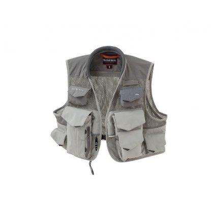 Rybářská vesta Simms Vertical Mesh Vest (Barva Steel, Materiál 100% Nylon s DWR zakončením; 100% polyester, Velikost XXL)
