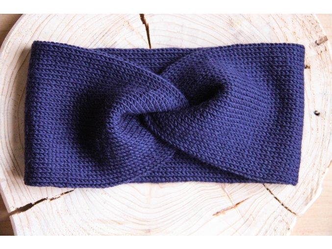 Pletená čelenka - tmavě modrá