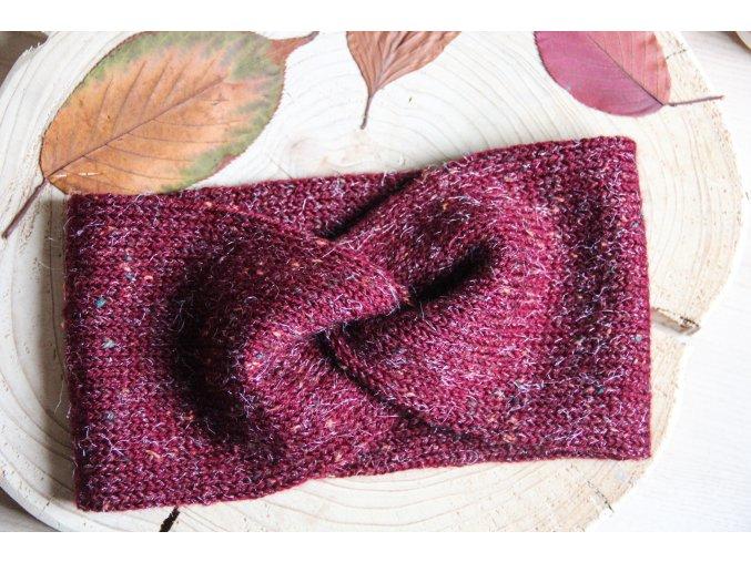Pletená čelenka - vínová tweed