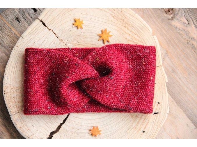 Pletená čelenka - červená tweed