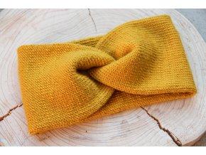 Pletená čelenka - žlutá