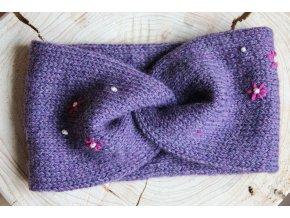 Pletená čelenka - fialová s kvítky